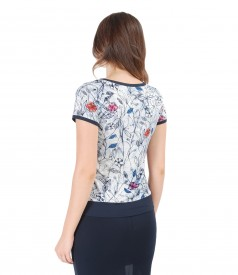 Elastic printed jersey with trim blouse