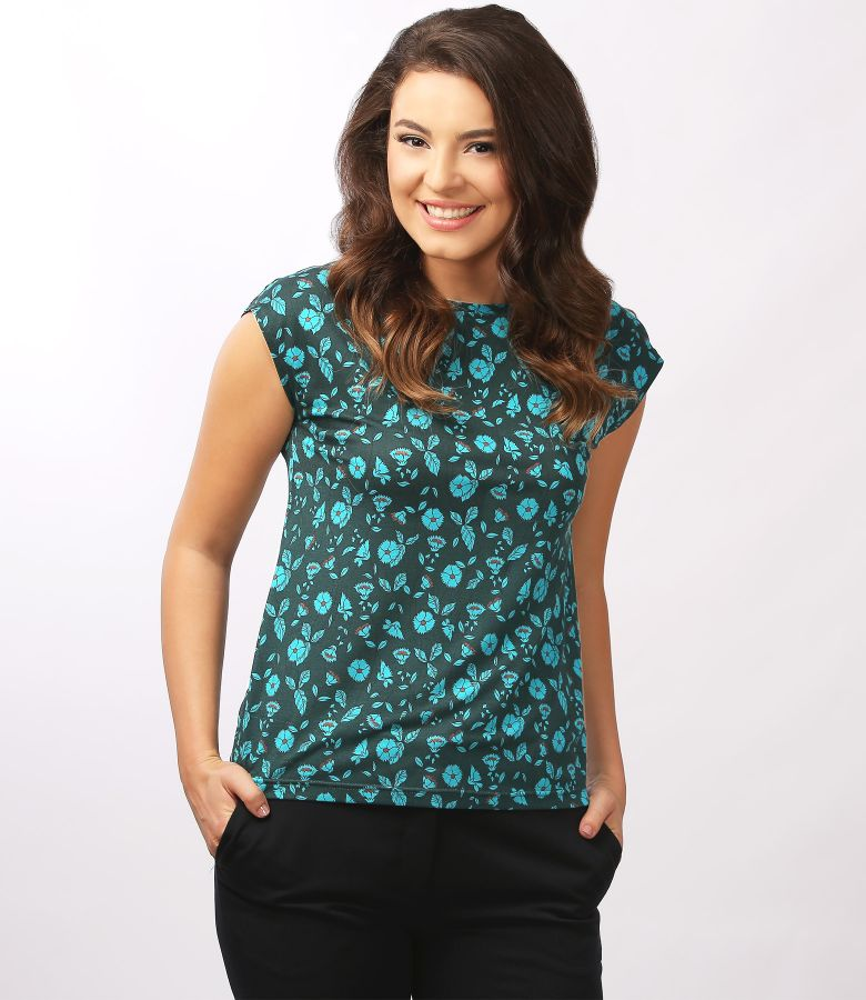 Printed jersey blouse with cap sleeves