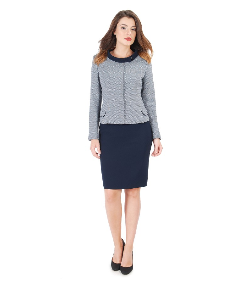 Office outfit with viscose jacket and pencil skirt