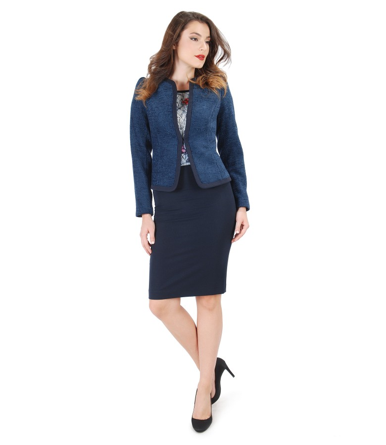 Office women suit with elastic loops jacket and pencil skirt