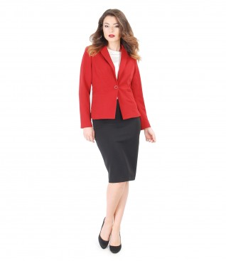 Office outfit with jacket with side zippers