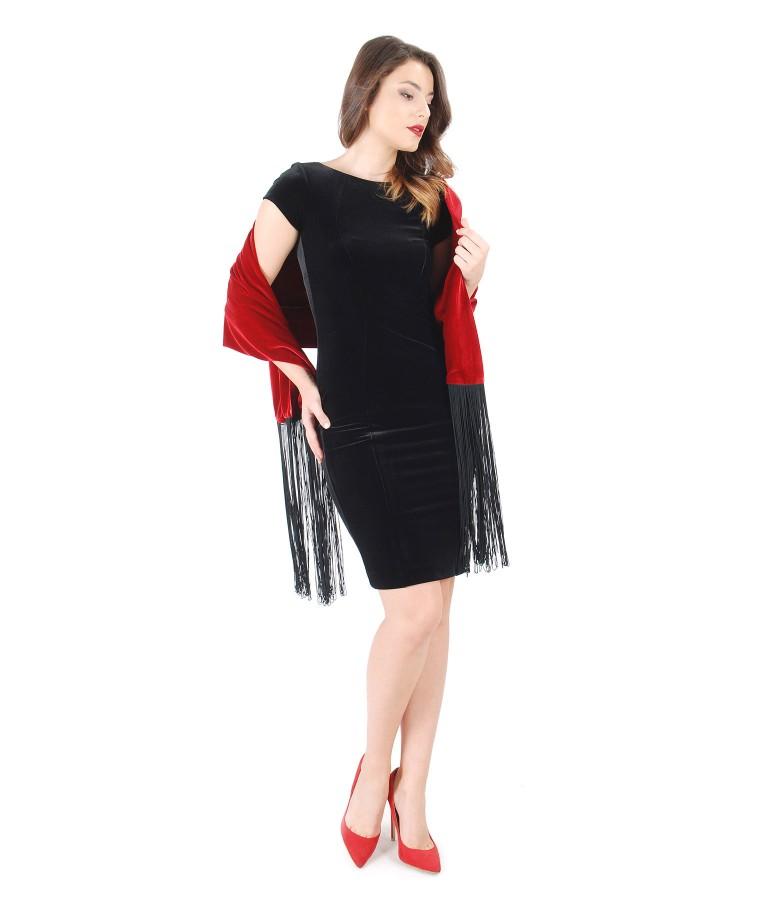 Elastic velvet dress and shawl with fringe