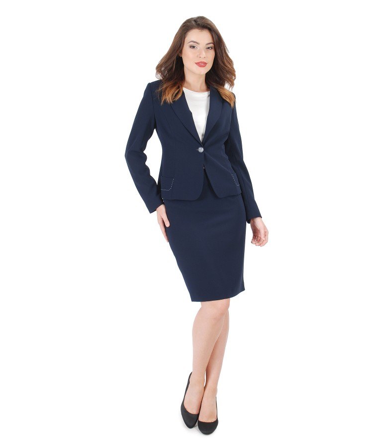 Office suit with jacket with long sleeves and skirt