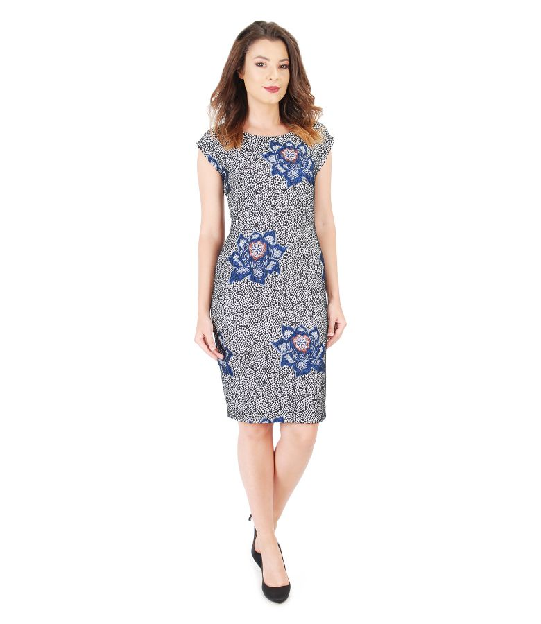 Elastic fabric dress with floral motifs
