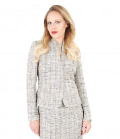 Elegant jacket with loops of wool and cotton