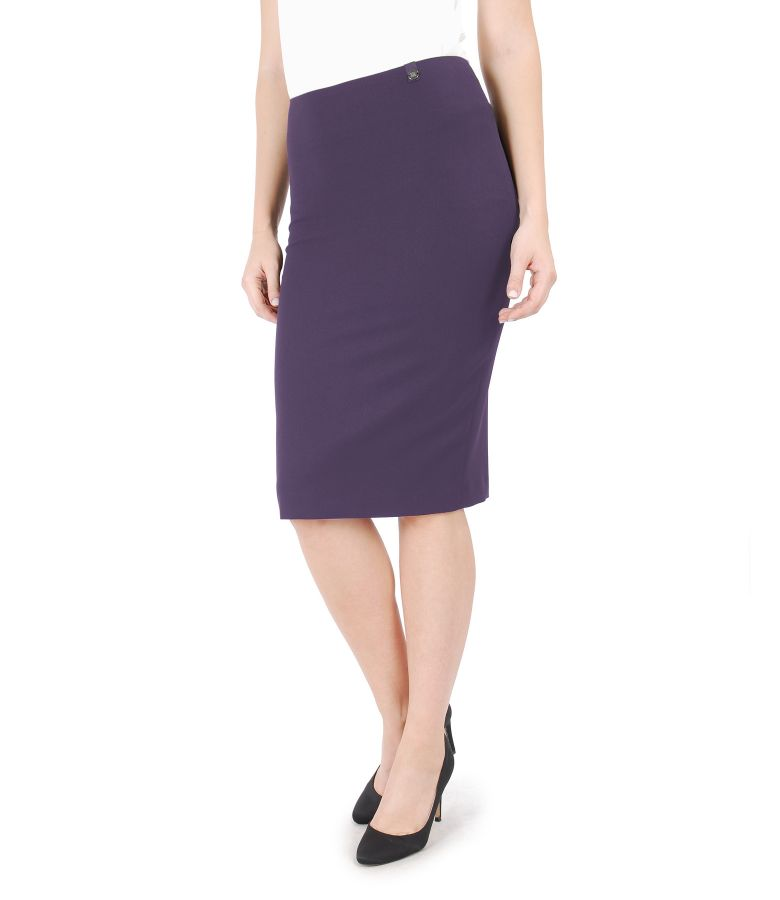 Office elastic fabric skirt with zipper
