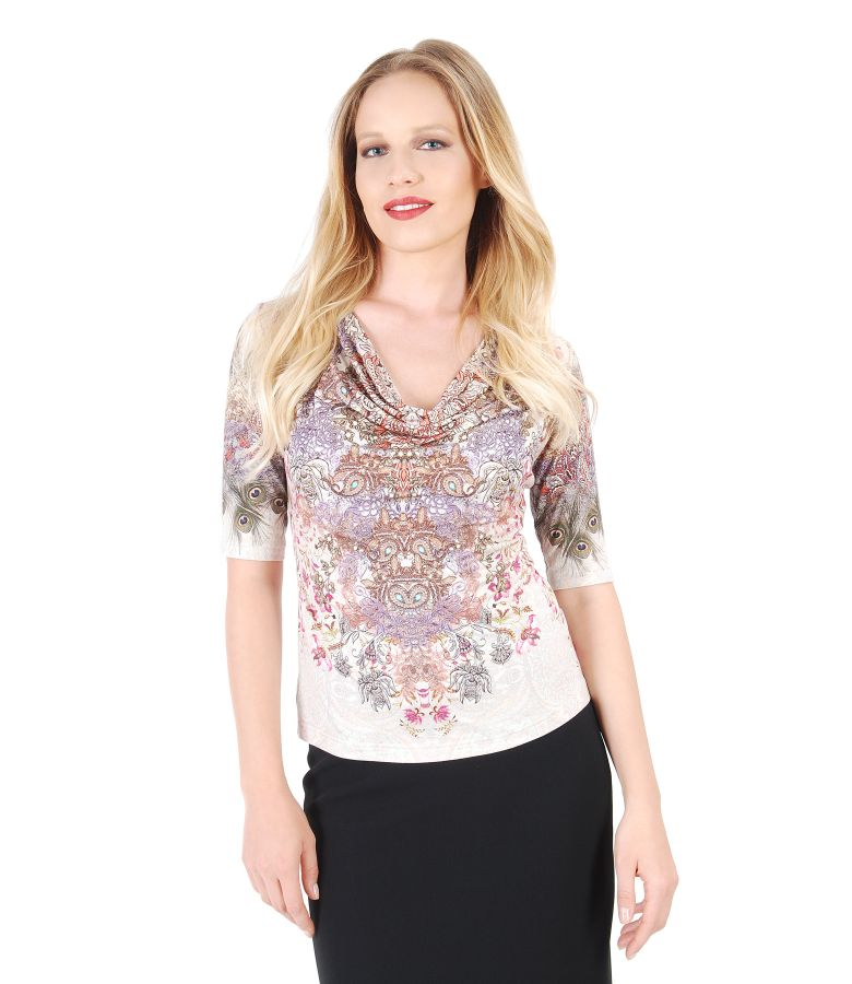 Printed jersey blouse with folds