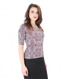 Printed elastic jersey blouse