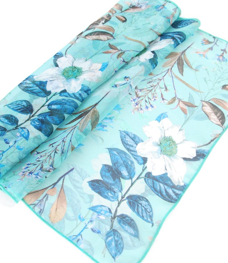 Printed with floral motifs veil scarf