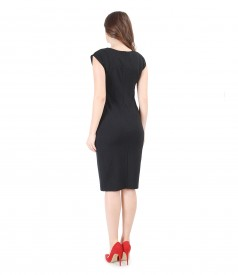 Thick elastic jersey dress with dots
