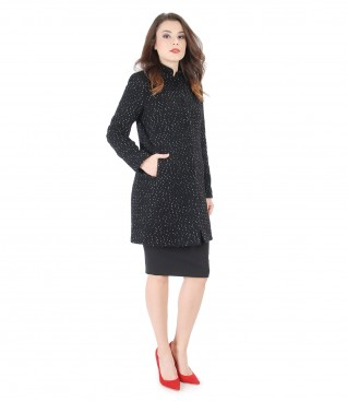 Alpaca wool jacket with elastic office skirt