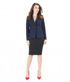 Office suit with jacket and elastic fabric skirt
