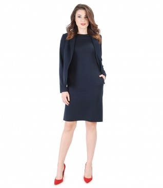 Office outfit with elastic fabric dress