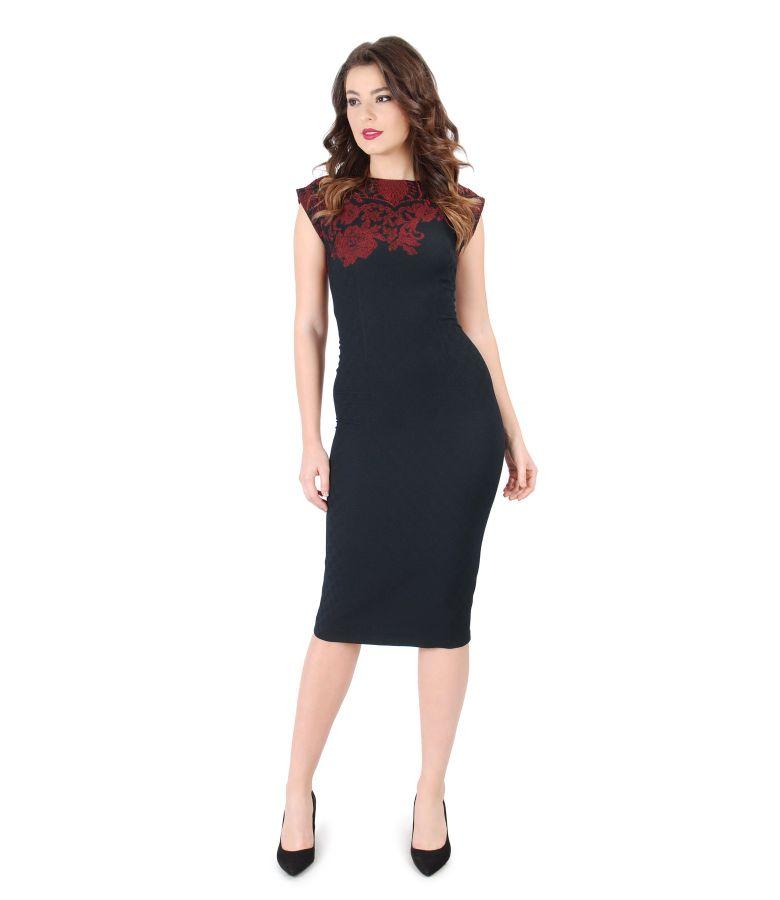 Brocade elastic jersey dress