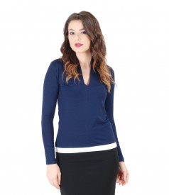 Elastic jersey blouse with deep decolletage