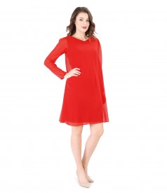 Short veil evening dress doubled with elastic jersey