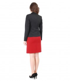 Elastic fabric dress with jacket with side zippers