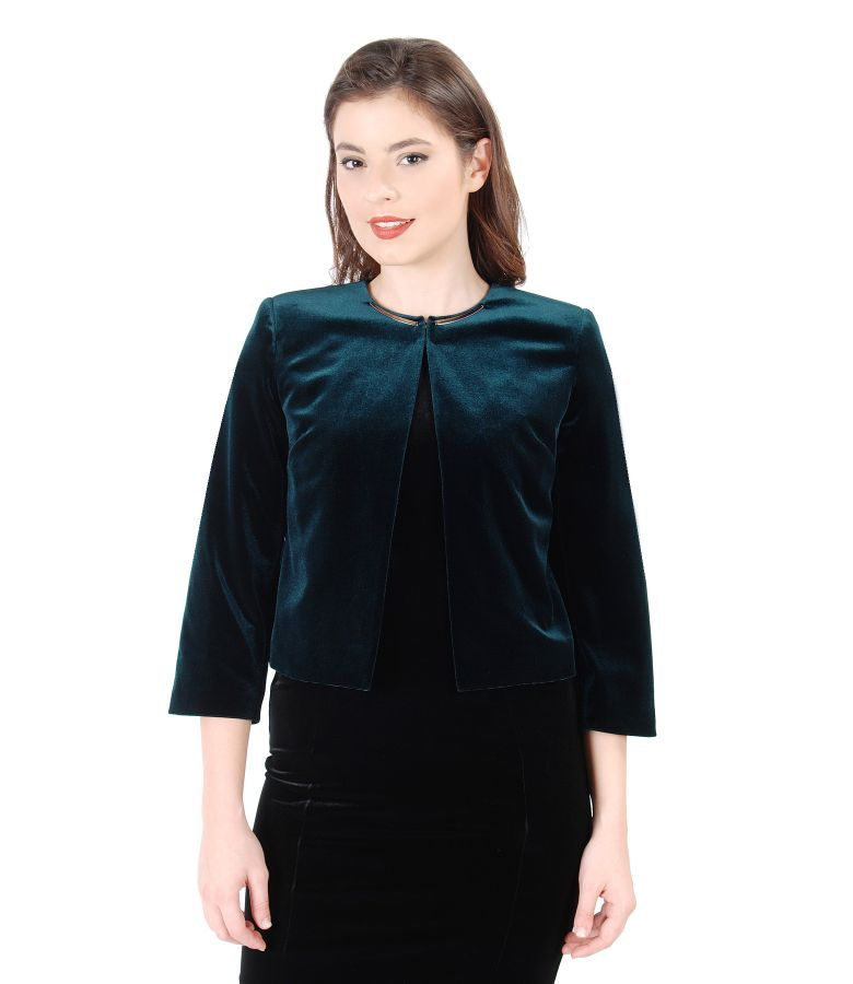 Green stretch velvet bolero