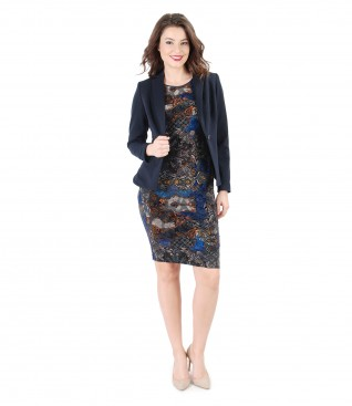 Elegant dress of elastic brocade jersey and jacket with side zippers