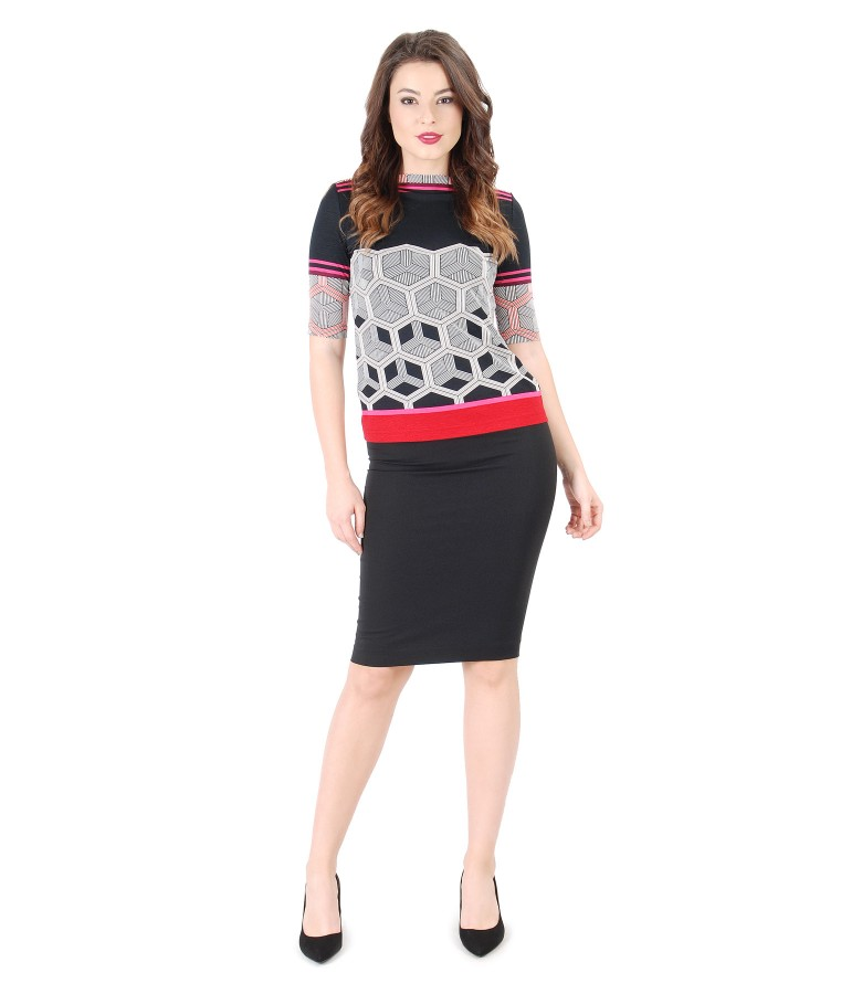 Casual outfit with printed jersey blouse and conical skirt