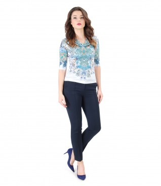 Printed jersey blouse with folds and pants