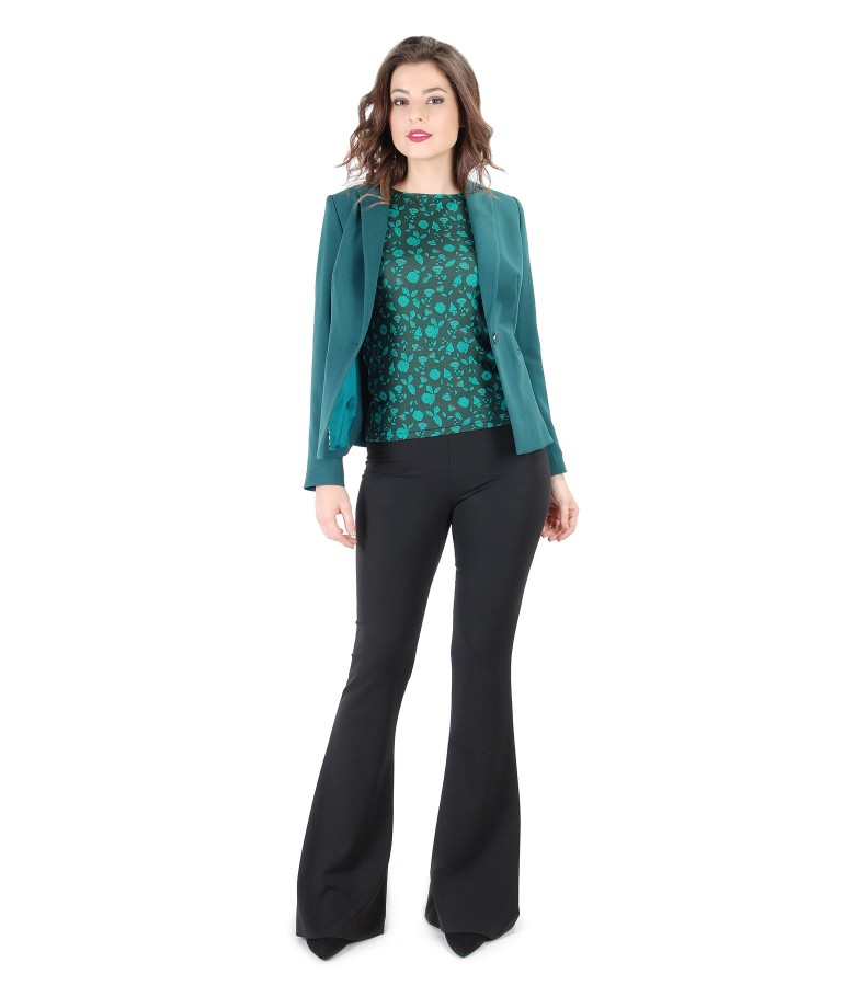 Elegant outfit with jacket with side zippers and flaring pants