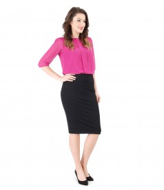 Office outfit with elastic jersey skirt and veil blouse
