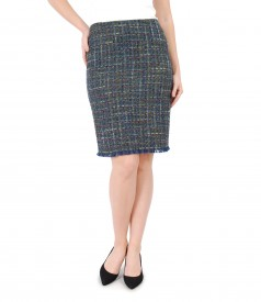 Skirt with multicolor cotton and virgin wool loops
