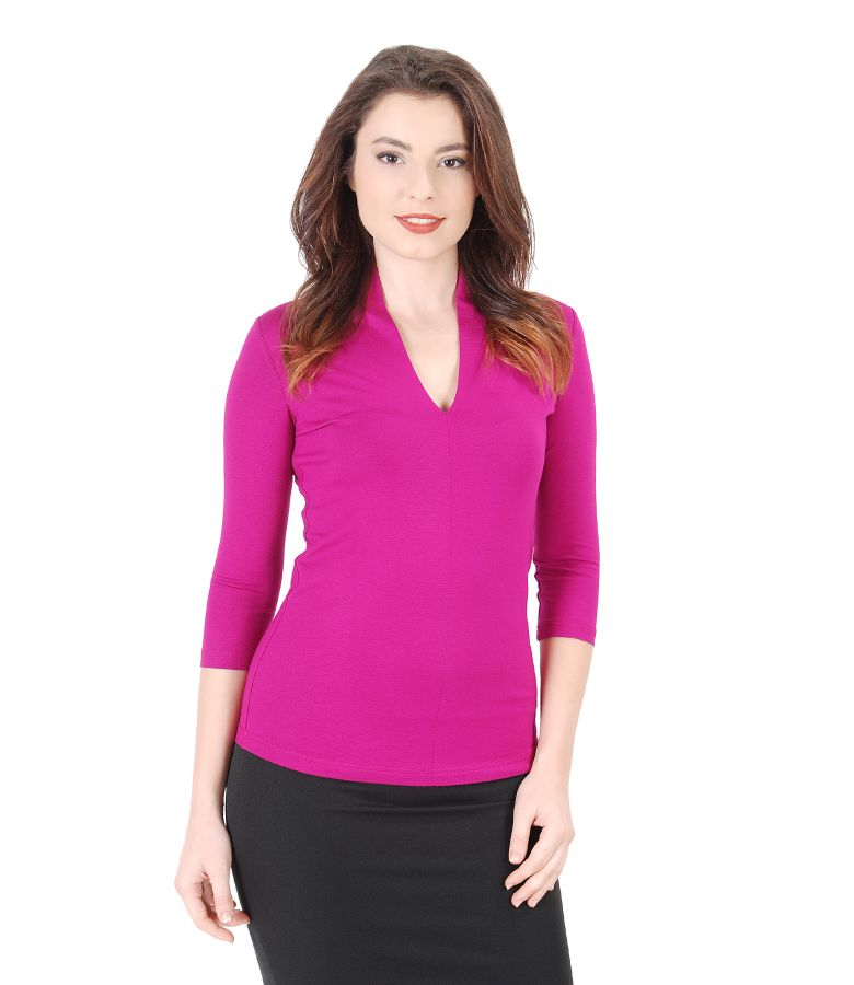 Jersey blouse with deep neckline
