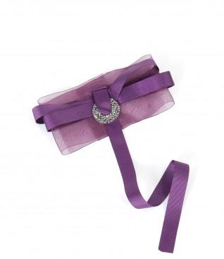 Organza accessory brooch with Swarovski crystals insert