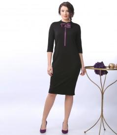 Elegant elastic jersey dress with organza brooch with Swarovski crystals