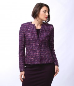 Jacket with multicolor cotton and wool loops