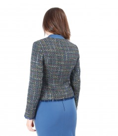 Jacket with multicolor cotton and virgin wool loops