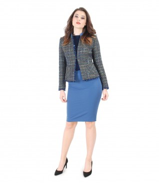 Office suit with multicolor loops jacket and conical skirt