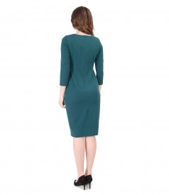 Elastic fabric elegant dress with 3/4 sleeves