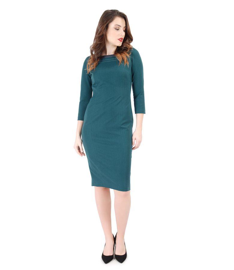 Elastic fabric elegant dress with 3/4 sleeves