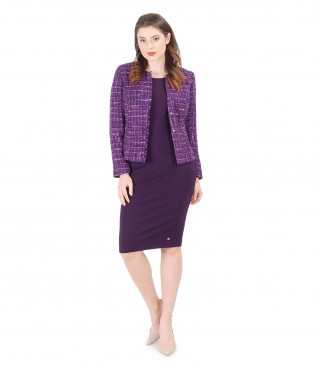 Office suit with multicolor loops jacket and elastic jersey dress