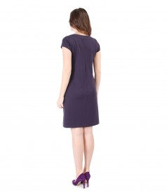 Elastic viscose dress with short sleeves