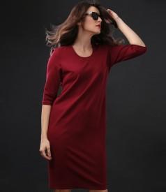 Elastic jersey elegant dress with 3/4 sleeves