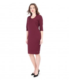 Elastic jersey elegant dress with 3/4 sleeves