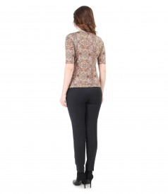 Casual outfit with geometric printed blouse and pants