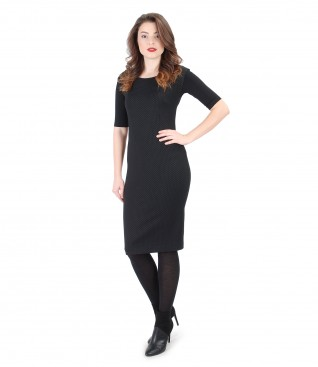 Black dress with lace corner and elastic jersey blouse