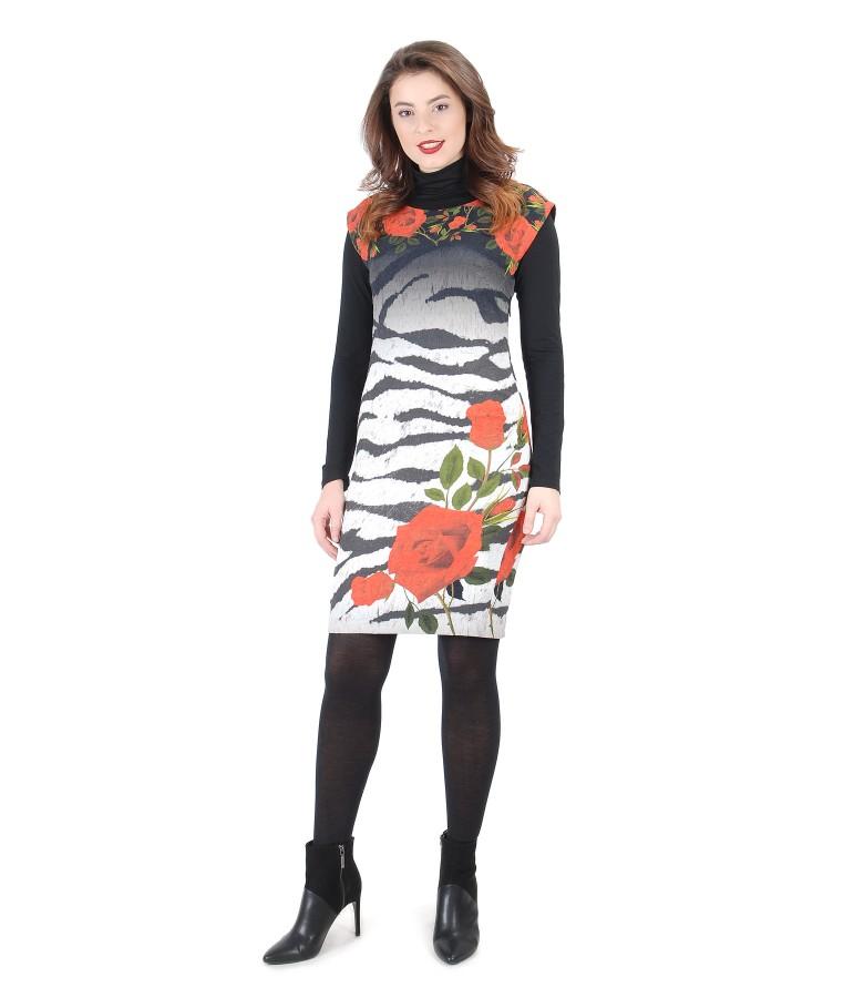 Elastic brocade dress with black elastic jersey blouse
