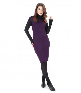 Elastic jersey dress with black blouse