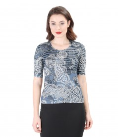 Printed elastic jersey blouse