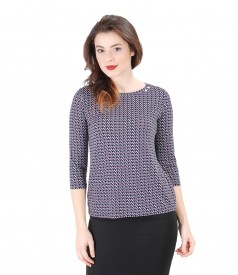Printed elastic jersey t-shirt with printed dots