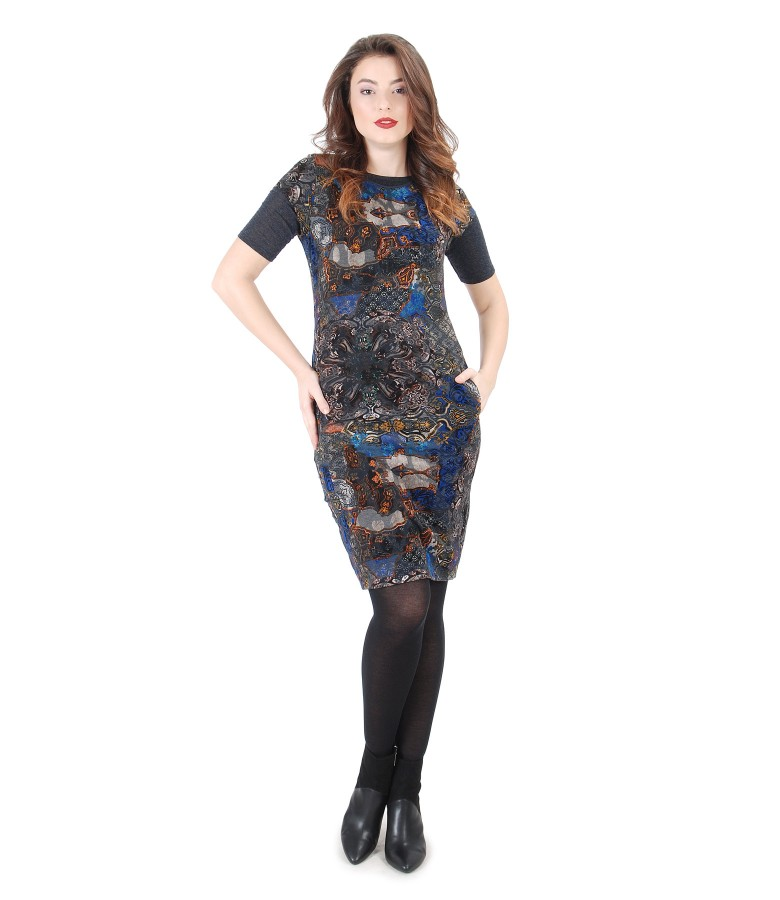 Brocade dress with velvet and elastic jersey with wool t-shirt