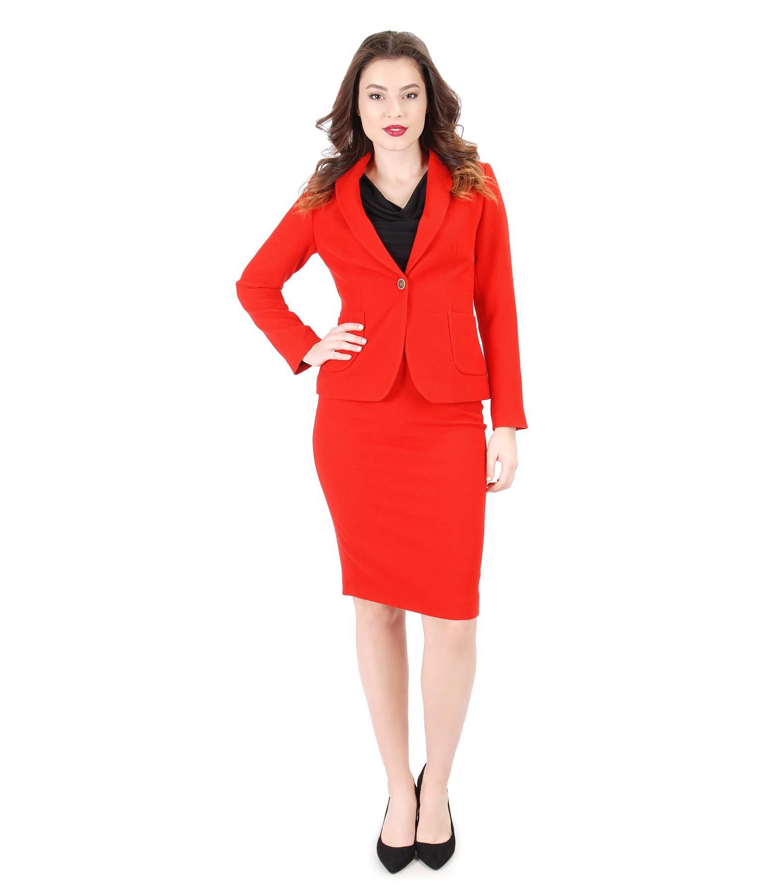 Women Office Suit With Jacket And Elastic Fabric Skirt Yokko