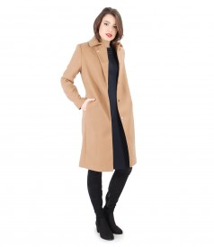 Jacket with lapel and pockets and elastic fabric dress