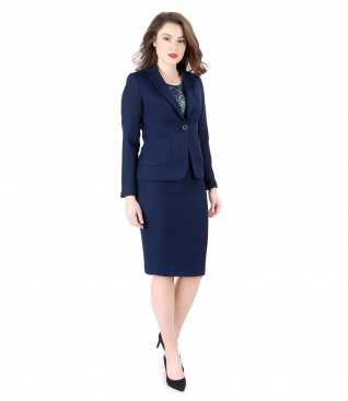 Women office suit with jacket and textured fabric skirt